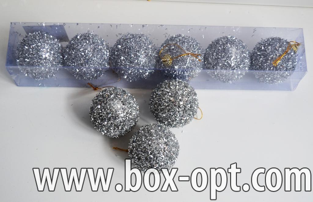 Елочная игрушка (шар дождик кокос серебро 1011131)